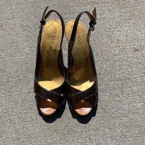 Women's Guess Brown Peep toe slingback size 6.5M